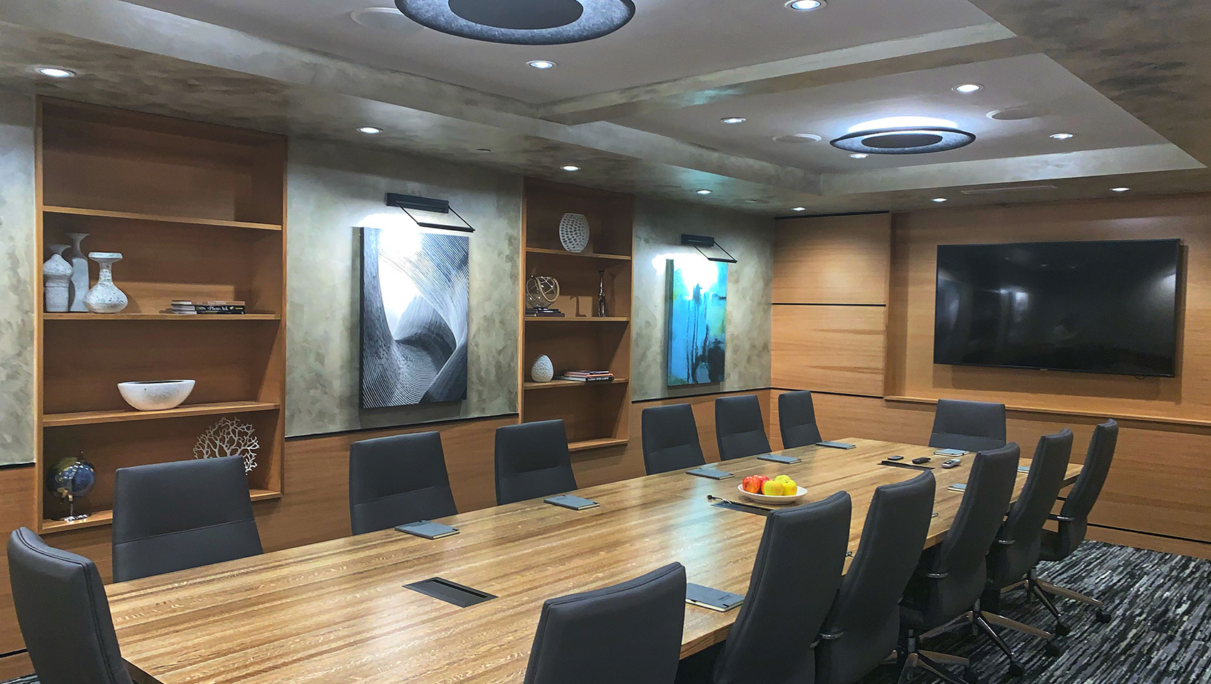 Ark Boardroom set up with conference style seating