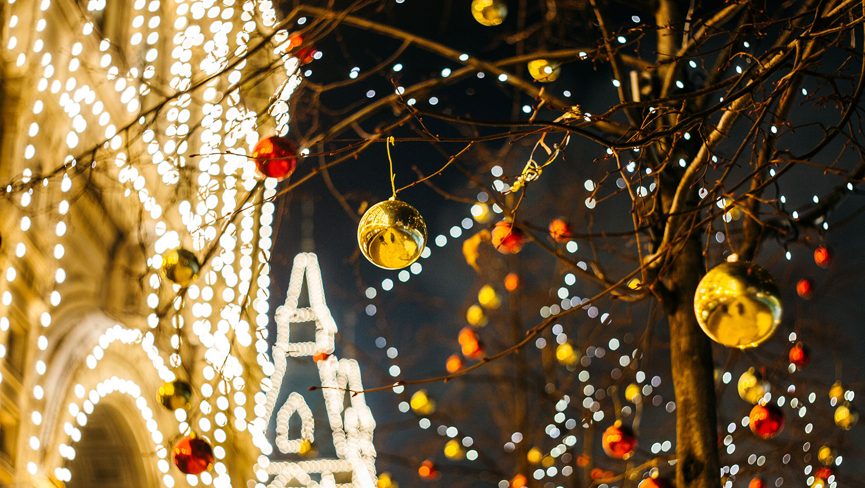 holiday lights and tree decorations