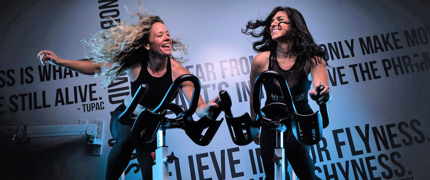 Women at Groove indoor cycling